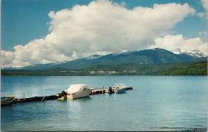 Lakelse Lake BC btwn Kitimat & Terrace Boat Unused Vintage Postcard D67