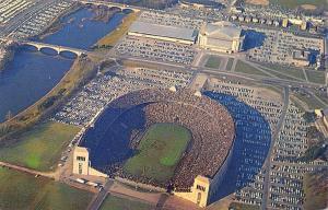 Columbus OSU Band Performs Script Ohio~Horseshoe Stadium~Woody Hayes Dr 1950s