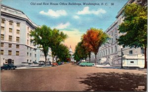 Vtg 1940s Old and New House Office Buildings Washington DC Linen Postcard