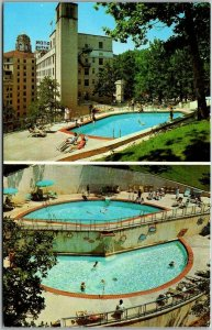Hot Springs National Park Postcard ARLINGTON HOTEL / 2 Pool Views Chrome c1950s
