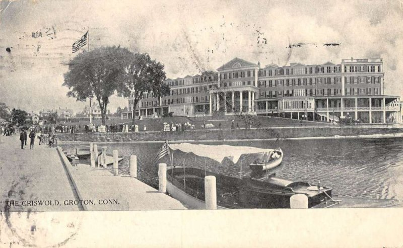Groton Connecticut water front scene at The Griswold hotel antique pc ZE686182