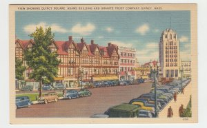 P2193 vintage postcard many old cars quincy sq adams & trust blg quincy mass