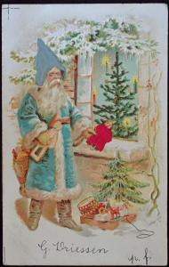 Christmas Santa Claus Silk Hat Silk Doll Dress Tree 1904 Embossed Postcard