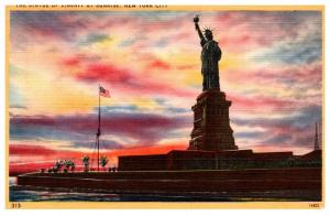 New York Bedloe's Island , Statue of Liberty  at Sunrise