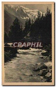 Old Postcard Argentiere L & # 39arve and Mont Blanc