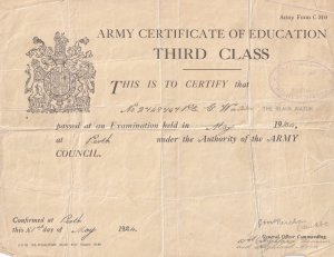 Perth Scottish Army 1924 Certificate Of Education Third Class