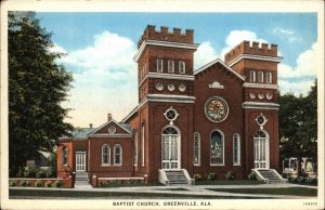 Greenville AL Baptist Church c1920 Postcard