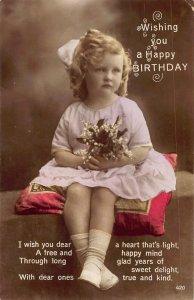 CUTE BLOND HAIR GIRL-PINK DRESS & RIBBON~FLOWERS-HAPPY BIRTHDAY  PHOTO POSTCARD