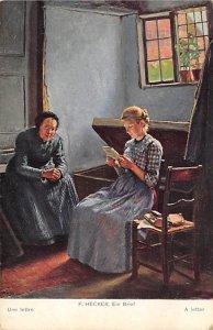 Art Post Card,Old Vintage Artist Postcard F Hecker, Ein Brief A Letter Unused