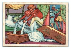Hans Throws Animated Corpse Back in Coffin Echte Wagner German Trade Card *VT31A