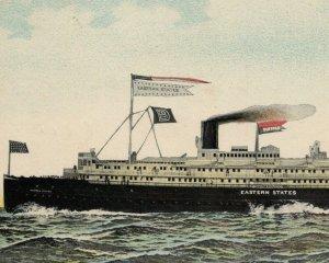 c.1910 Eastern States Steamship Postcard Detroit MI Cruise Passenger Ship