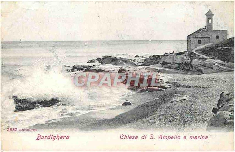 Old Postcard Bordighera Chiesa di S. Ampelio e marina