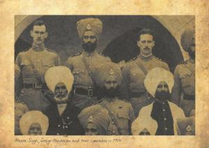 Repro 1917 Postcard, WW1 Manta Singh, George Henderson & Comrades 76T