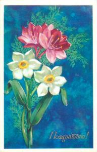 Flowers 1976 greetings postcard Russia