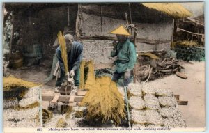 JAPAN ~ SILKWORMS Making Straw Layers for Silkworms c1910s Handcolored Postcard
