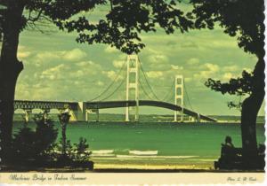 Mackinac Bridge Michigan MI Indian Summer Unused Postcard D30