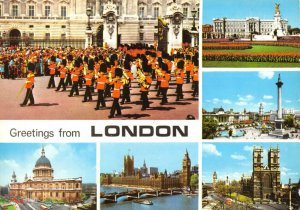 Postcard, Greetings from London Multi View, Buckingham Palace, Trafalgar etc 92V