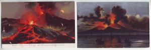 P1188 2 old art postcard unused volcanoes napoli-vesuvio in eruzione italy