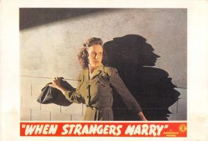 Film Movie Postcard When Strangers Marry 1944 Monogram HUGE SIZE 205x140mm