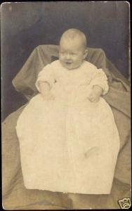 Little BABY CHILD DRESS on Chair Real Photo 1910s RPPC
