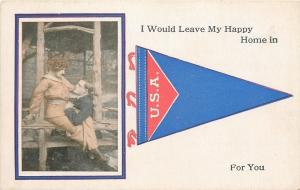 USA Red White & Blue Pennant~Romantic Couple~Leave My Home For You 1914 Postcard