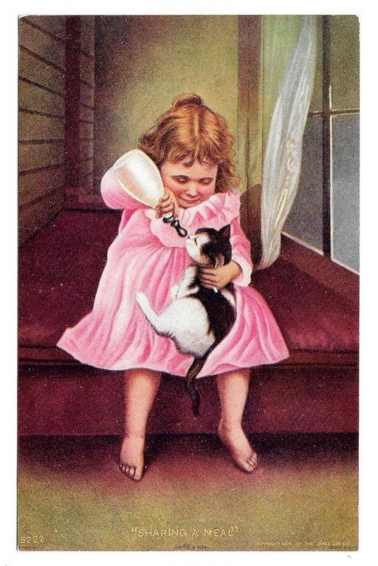 Sharing a Meal Girl Bottle Feeding Kitten Cat 1906 Postcard