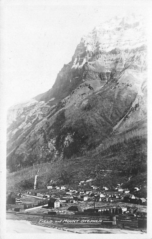 RPPC Field & Mount Stephen, British Columbia, Canada ca 1930s Vintage Postcard