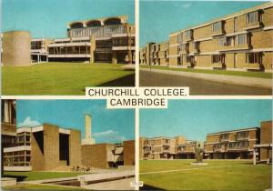 Churchill College Cambridge UK University Multiview c1971 Postcard D58