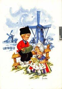 Netherlands Children Traditional Costumes Piano Mills Postcard