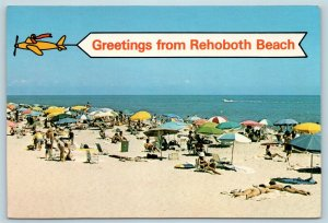 Postcard DE Rehoboth Beach Delaware Multiview Banner Greetings #2 X5