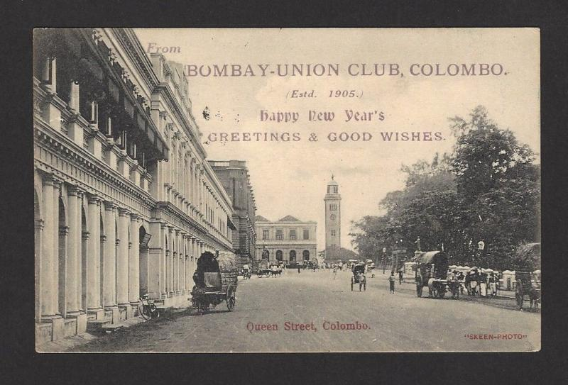 Ceylon Bombay Union Club Colombo 1909 postcard to Bombay