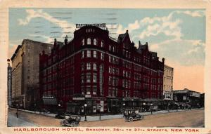 Marlborough Hotel, New York, N.Y., Early  Postcard, Used in 1916