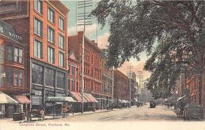 Portland ME Congress Street Store Fronts Horse & Wagons Trolley Postcard