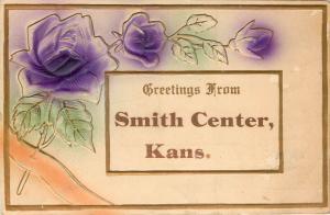 Smith Center Kansas~Embossed Greetings~Gold Trim & Border~Purple Rose Blossoms