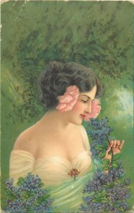 Lovely lady lilac flowers 1909 postcard