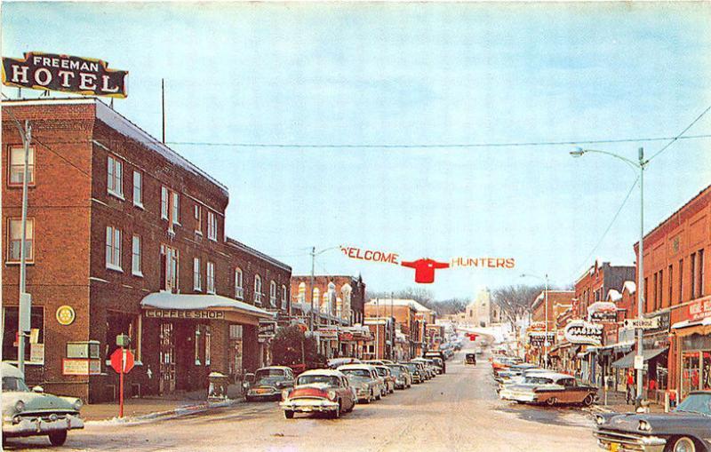 Black River Falls Wi Freeman Hotel Front S Old Cars Postcard