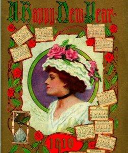 Vtg Postcard 1910 A Happy New Year Artist Signed Edwardian Woman Calendars UNP