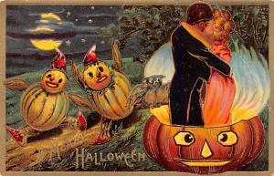 Halloween Post Card Old Vintage Antique Sander writing on back