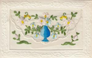 Embroidered Vase & Flowers , 00-10s; Insert Thinking of You