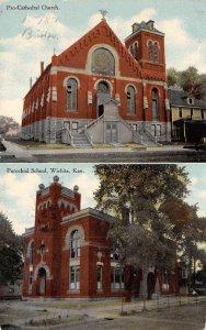 Pro-Cathedral Church & Parochial School WICHITA KS Vintage Kansas Postcard 1910