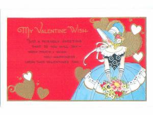 Pre-Linen valentine GIRL IN BONNET AND MATCHING DRESS HOLDS FLOWER BOUQUET J0698
