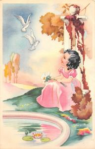 Fantasy Young girl, flowers, flying birds, dove 1948
