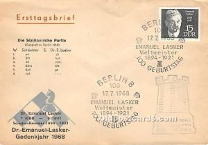 Old Vintage Chess / Checkers Postcard Post Card Deutscher Schachverband Schac...