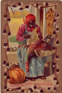 1912 THANKSGIVING GREETINGS - old woman removes feathers from turkey - embossed