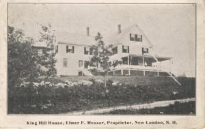 King Hill House New London NH New Hampshire Inn Elmer Messer c1915 Postcard E7