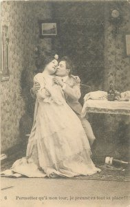 Postcard theatre man suit woman love keep you in your arms