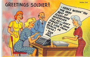 Greetings soldier Typewriter Unused