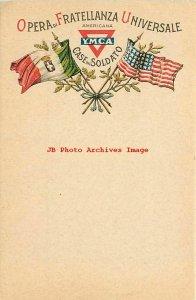 United States & Italy Flag, YMCA,Opera di Fratellanza Universale,Case de Soldato