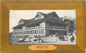 Muskegon Michigan~Lounging on Ground Dancing Pavilion~1907 Wood Border