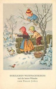 Bird Feeding Children 1950s Postcard Winter snow Art 11961